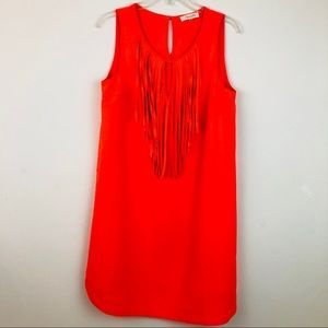 Fringe Shift Dress Sleeveless Neon Orange Sz M
